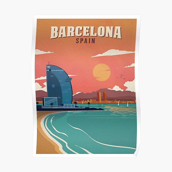 Vintage Barcelona Spain Beach Poster Poster