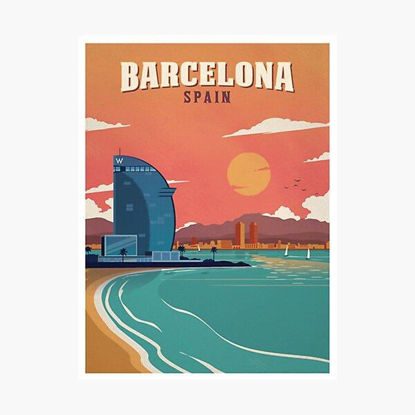 Vintage Barcelona Spain Beach Poster Photographic Print