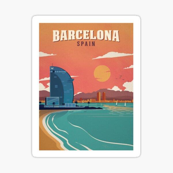 Vintage Barcelona Spain Beach Poster Sticker