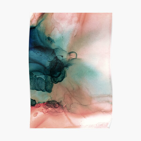 Blue and Peach Abstract Painting Poster