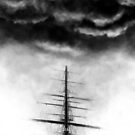 Black and White Contemporary Art Ship by Fangpunk
