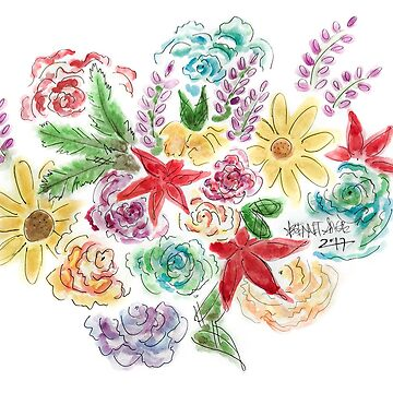 Watercolor Flowers  by brennarose0