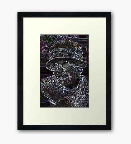 Happy Old Women Color Art Framed Print