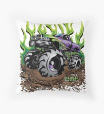 Mud Truck Green Mega Flame Throw Pillow