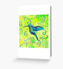 Hummingbird and Swirls Greeting Card