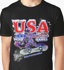 USA 2018 Winter Games US South Korea Sports T-shirt Graphic T-Shirt