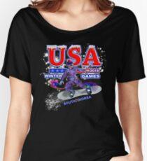 USA 2018 Winter Games US South Korea Sports T-shirt Women's Relaxed Fit T-Shirt