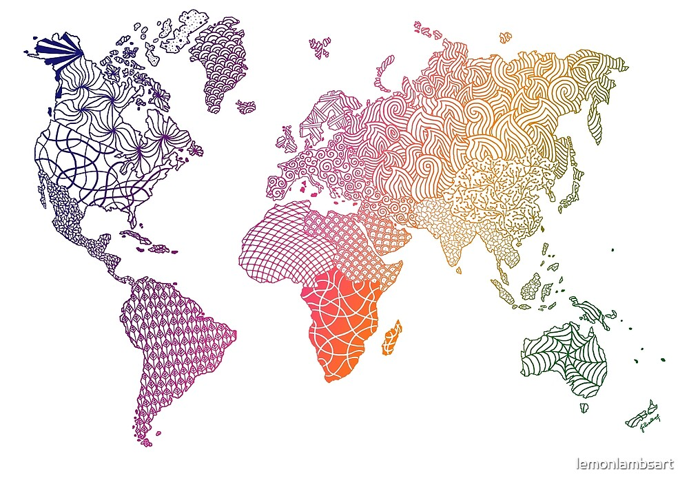 Colourful zentangle world map by lemonlambsart redbubble colourful zentangle world map by lemonlambsart gumiabroncs Images