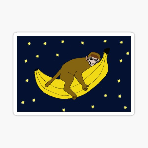 Baby monkey riding on a banana through space Sticker