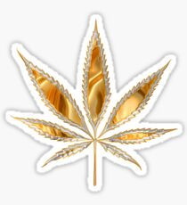 Marijuana leaf as if reflective gold Sticker