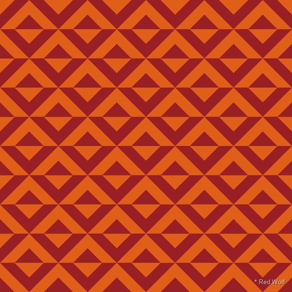 Geometric Pattern: Diamond Split: Red by * Red Wolf