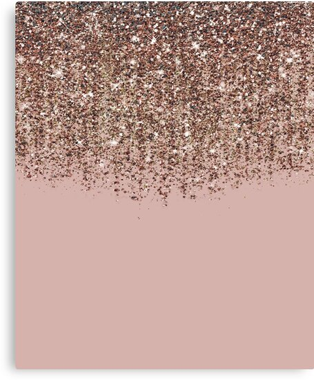 Quot Blush Pink Rose Gold Bronze Cascading Glitter Quot Canvas