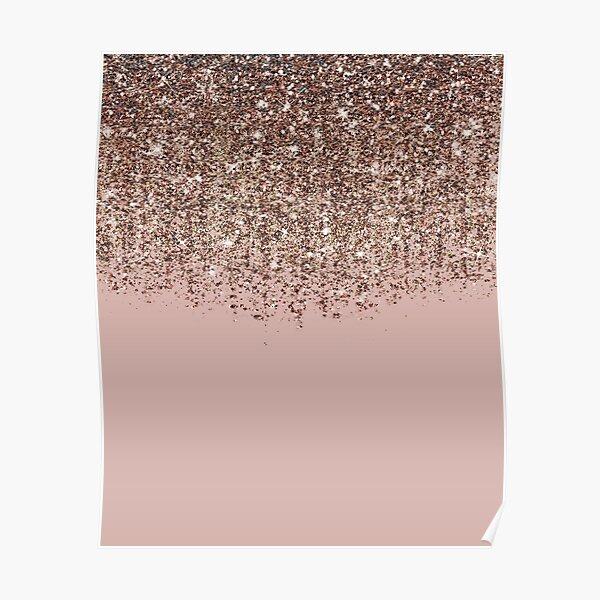 Blush Pink Rose Gold Bronze Cascading Glitter Poster
