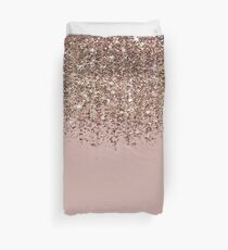 Funda nórdica Blush Pink Rose Gold Bronze Cascading Glitter