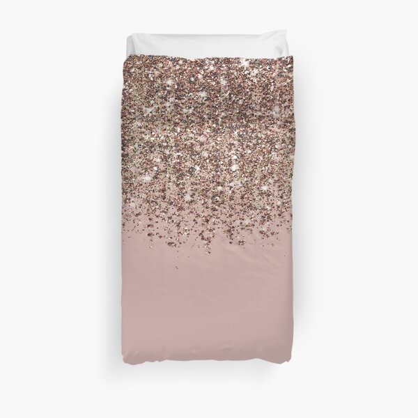 Blush Pink Rose Gold Bronze Cascading Glitter Duvet Cover