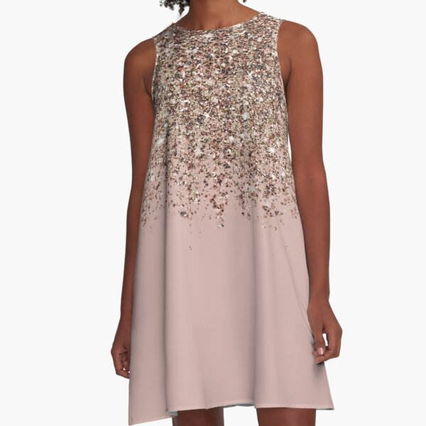 Blush Pink Rose Gold Bronze Cascading Glitter A-Line Dress