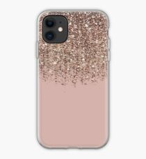 Vinilo o funda para iPhone Blush Pink Rose Gold Bronze Cascading Glitter