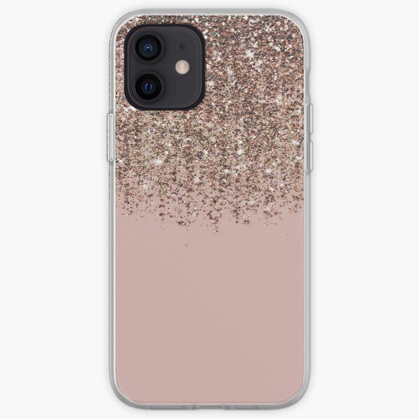 Blush Pink Rose Gold Bronze Cascading Glitter iPhone Soft Case