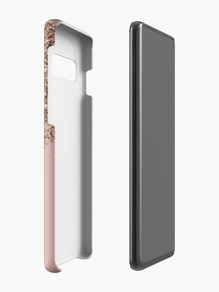 Alternate view of Blush Pink Rose Gold Bronze Cascading Glitter Case & Skin for Samsung Galaxy