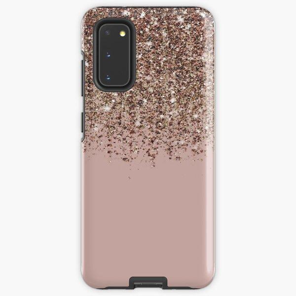 Blush Pink Rose Gold Bronze Cascading Glitter Samsung Galaxy Tough Case