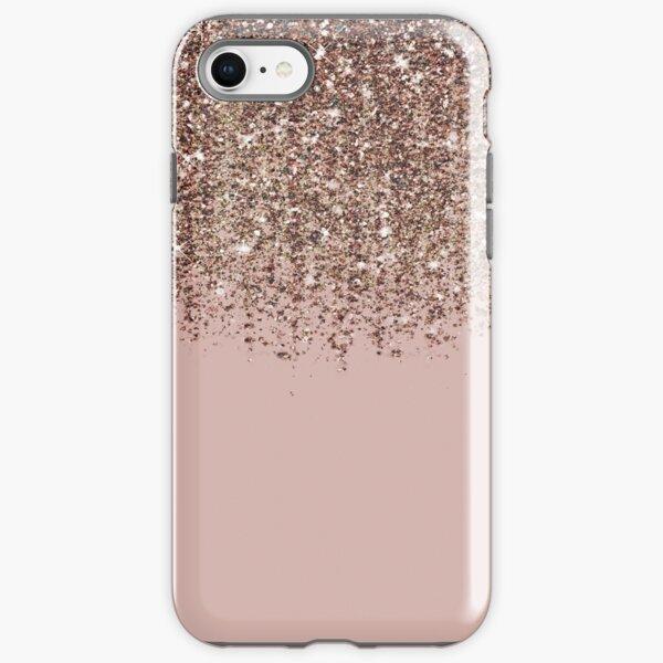 Blush Pink Rose Gold Bronze Cascading Glitter iPhone Tough Case