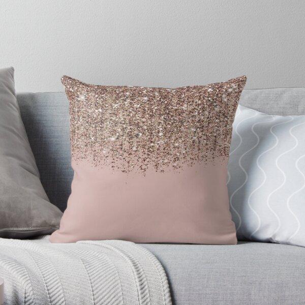 Blush Pink Rose Gold Bronze Cascading Glitter Throw Pillow