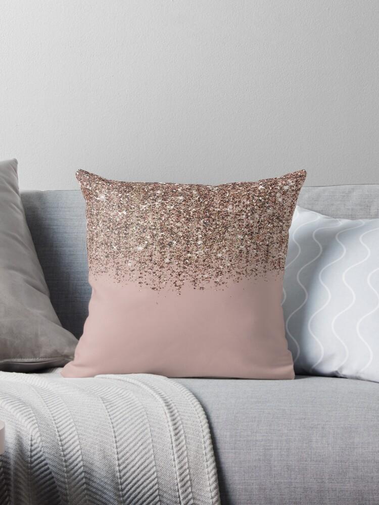 Blush Pink Rose Gold Bronze Cascading Glitter