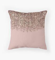 Cojín Blush Pink Rose Gold Bronze Cascading Glitter