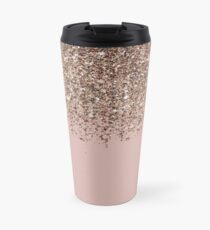 Erröten Rosa Rose Gold Bronze Cascading Glitter Thermosbecher