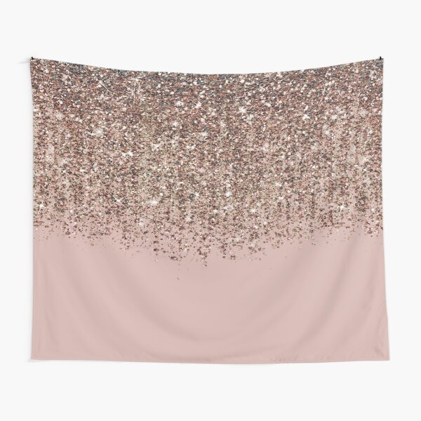 Blush Pink Rose Gold Bronze Cascading Glitter Tapestry