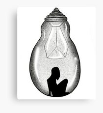 Trapped Silhouette In Electric Light Bulb Canvas Print