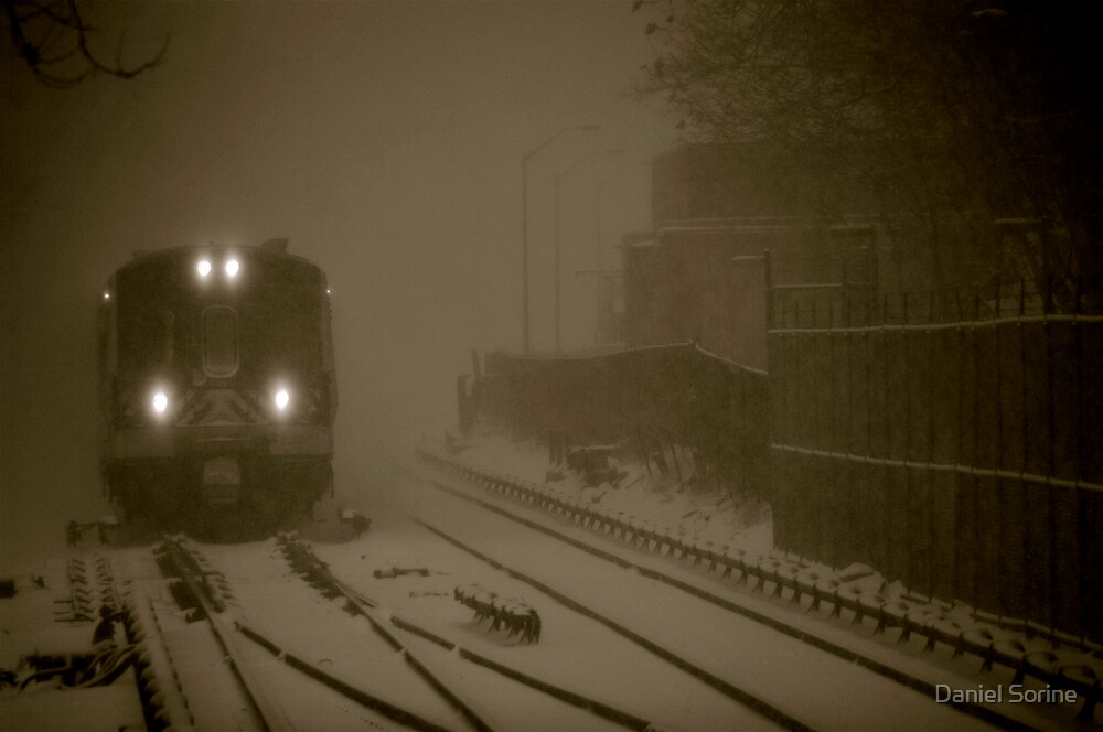 Train entering station during snowstorm by Daniel Sorine