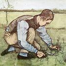 Original Vincent Willem van Gogh Impressionist Art Painting Restored Grassnijder by jnniepce