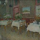 Original Vincent Willem van Gogh Impressionist Art Painting Restored Interior of a Restaurant by jnniepce