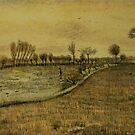 Original Vincent Willem van Gogh Impressionist Art Painting Restored Etten Landscape by jnniepce