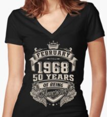 Born in February 1968 - 50 Years of Being Awesome Women's Fitted V-Neck T-Shirt