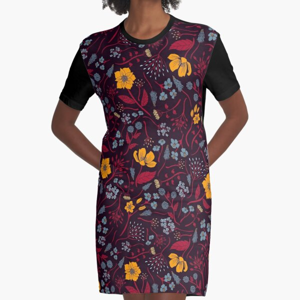 Mustard Yellow, Burgundy & Blue Floral Pattern Graphic T-Shirt Dress