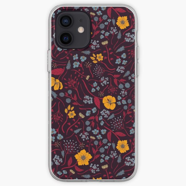 Mustard Yellow, Burgundy & Blue Floral Pattern iPhone Soft Case