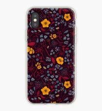 Senfgelb, Burgunder & Blau Blumenmuster iPhone-Hülle & Cover