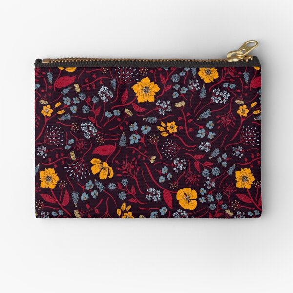Mustard Yellow, Burgundy & Blue Floral Pattern Zipper Pouch