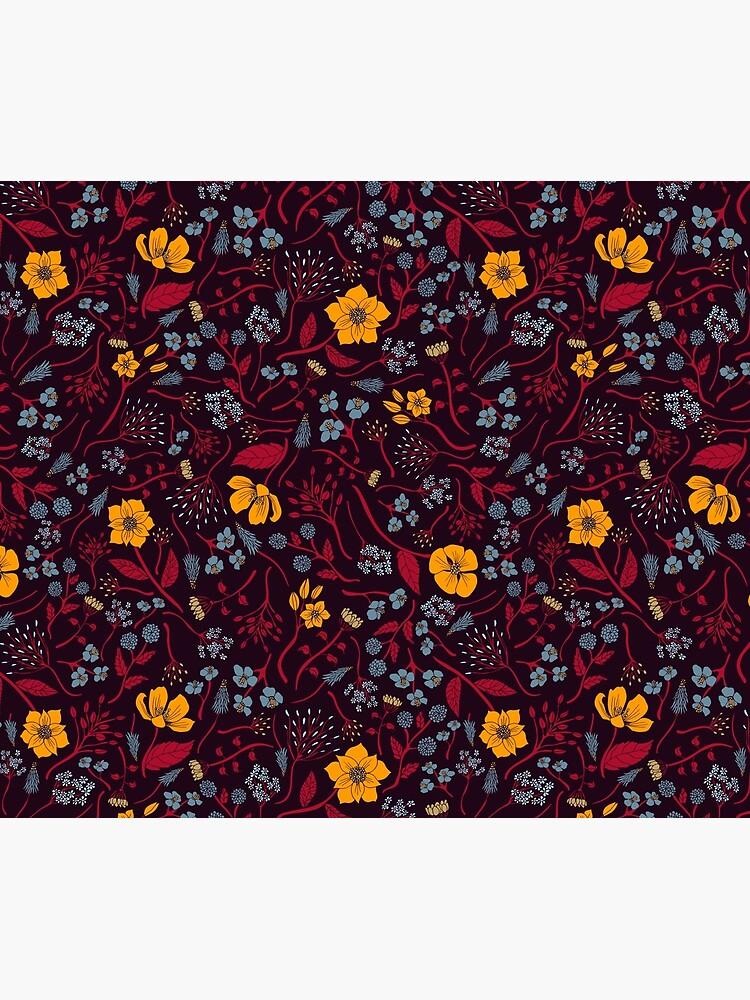 Mustard Yellow, Burgundy & Blue Floral Pattern by somecallmebeth