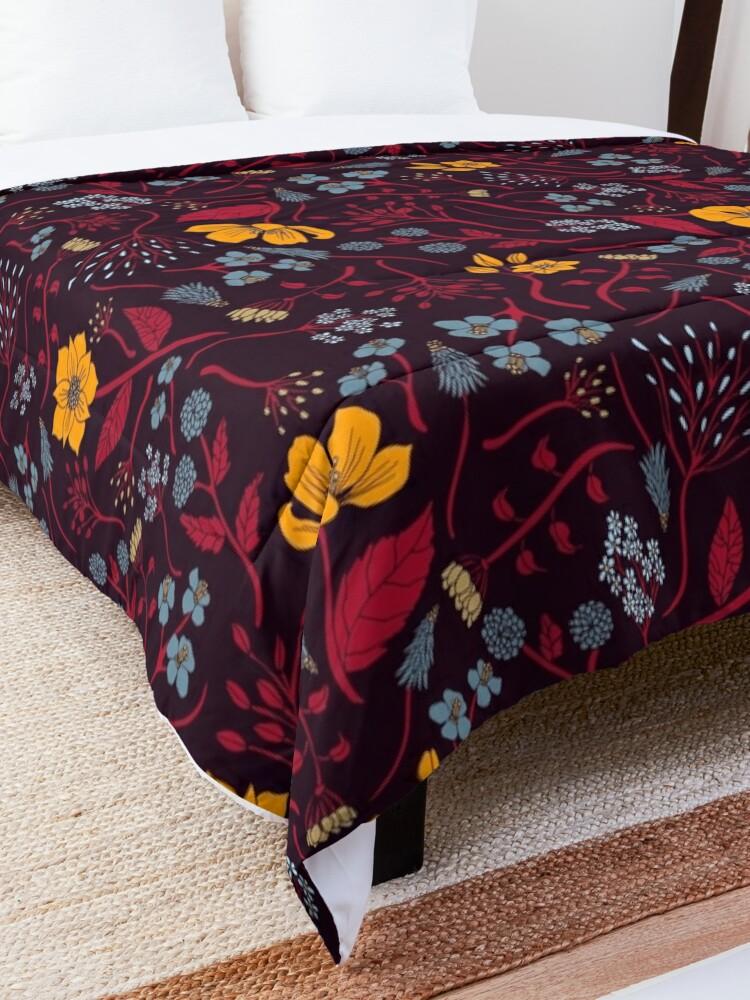 Alternate view of Mustard Yellow, Burgundy & Blue Floral Pattern Comforter