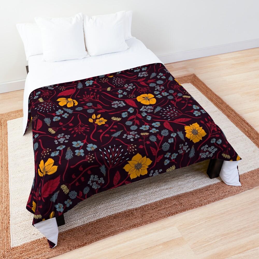 Mustard Yellow, Burgundy & Blue Floral Pattern Comforter
