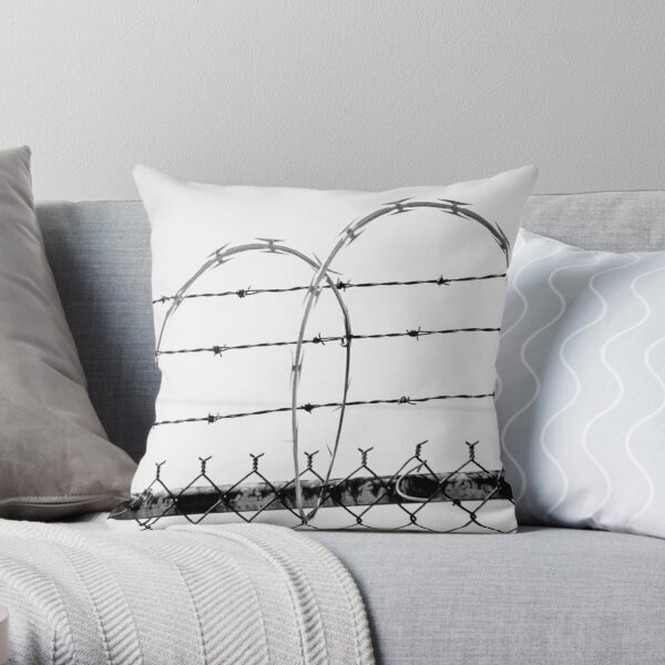 Razor Wire Fence Throw Pillow