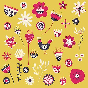 Scandi Bird and Flowers Yellow by squirrell