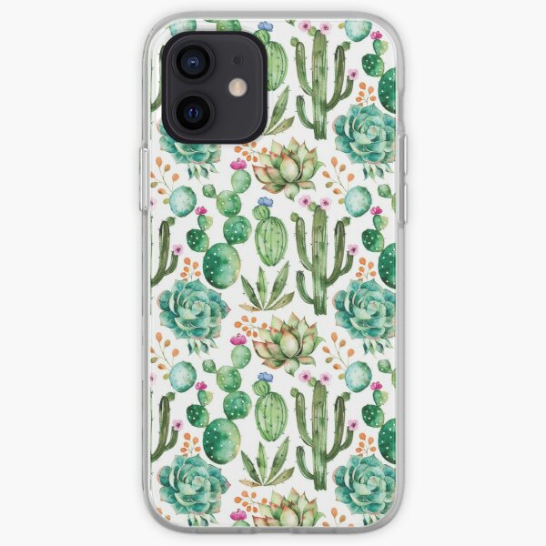 Watercolor Cactus Pattern iPhone Soft Case