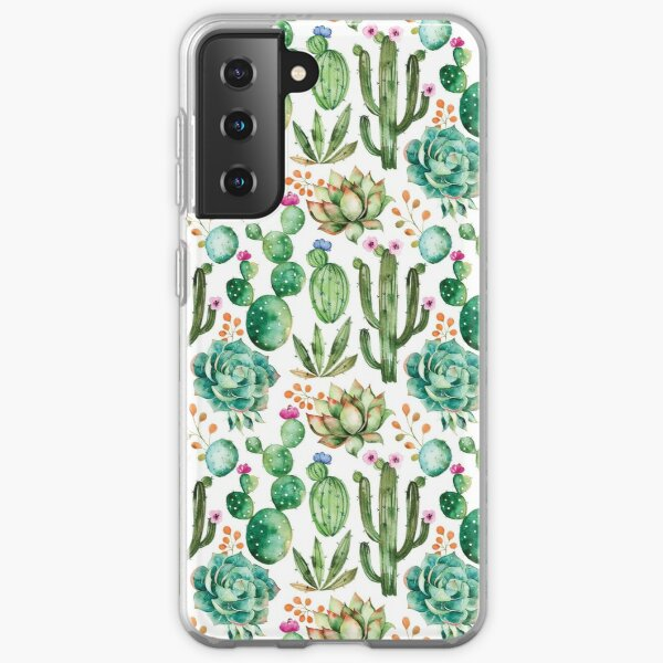 Watercolor Cactus Pattern Samsung Galaxy Soft Case