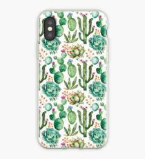 Watercolor Cactus Pattern iPhone Case