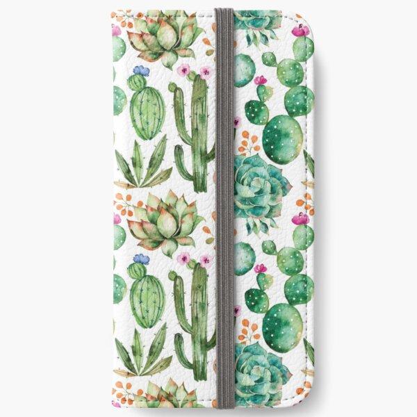 Watercolor Cactus Pattern iPhone Wallet