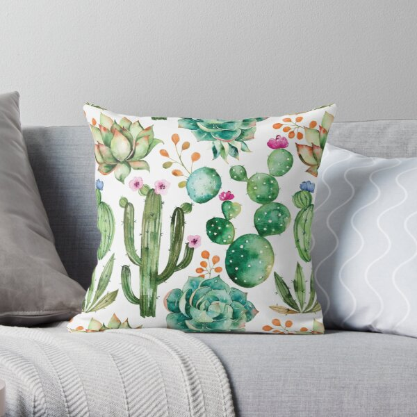 Watercolor Cactus Pattern Throw Pillow